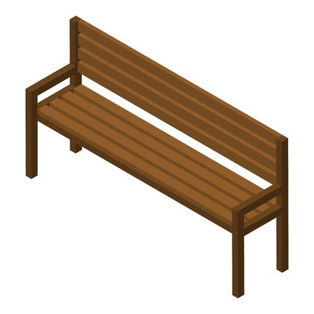 Wood bench icon. Isometric of wood bench vector icon for web design isolated on white background  イラスト・ベクター素材