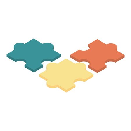 Colorful puzzle icon, isometric style
