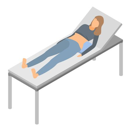 Woman bed hospital icon. Isometric of woman bed hospital vector icon for web design isolated on white background