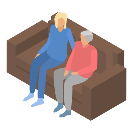 Senior couple on sofa icon. Isometric of senior couple on sofa vector icon for web design isolated on white background Illustration