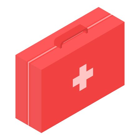 Red first aid kit icon, isometric style Фото со стока - 129373661