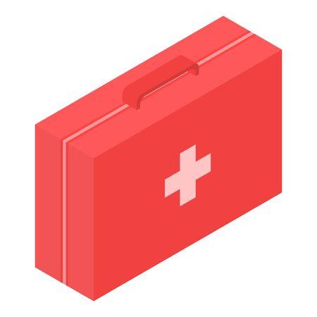 Red first aid kit icon, isometric style Ilustração