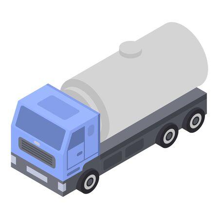 Milk truck cistern icon, isometric style
