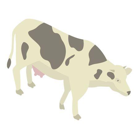 Dairy cow icon, isometric style