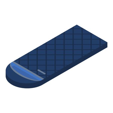 Blue sleeping bag icon, isometric style Ilustração