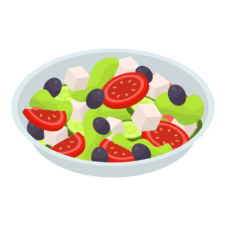 Salad plate icon. Isometric of salad plate vector icon for web design isolated on white background
