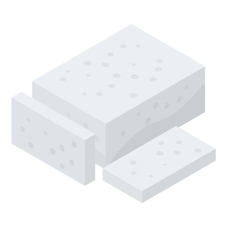 Greek feta cheese icon. Isometric of greek feta cheese vector icon for web design isolated on white background