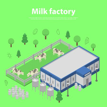 Milk factory concept banner, isometric style