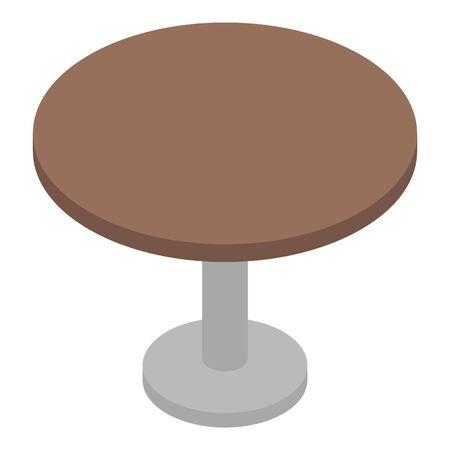 Icona del tavolo da bar rotondo, stile isometrico Vettoriali