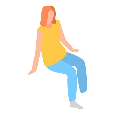 Sit woman icon, isometric style