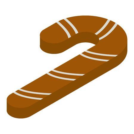 Gingerbread candy stick icon, isometric style Illusztráció