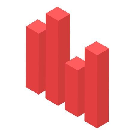 Red graph bar icon, isometric style Ilustracja
