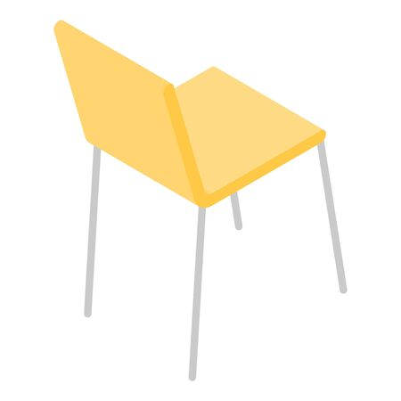 Yellow office chair icon, isometric style