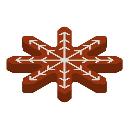 Gingerbread snowflake icon, isometric style Illustration