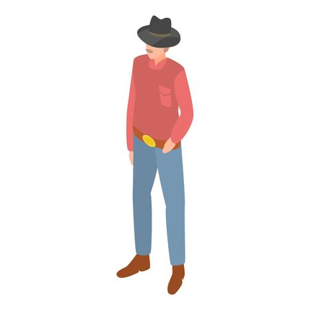 Cowboy icon. Isometric of cowboy vector icon for web design isolated on white background