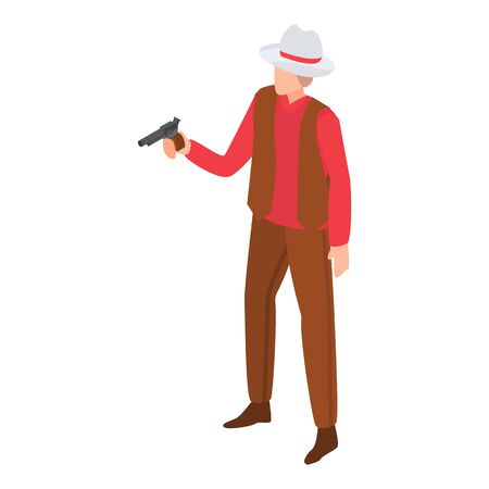 Cowboy pistol icon. Isometric of cowboy pistol vector icon for web design isolated on white background  イラスト・ベクター素材