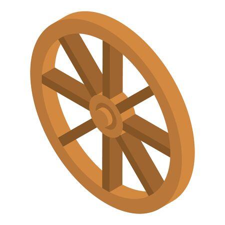 Icône de chariot de roue en bois, style isométrique