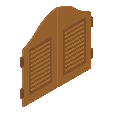 Saloon doors icon, isometric style