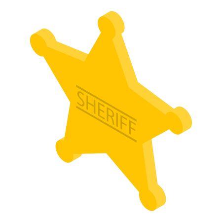 Gold sheriff star icon, isometric style
