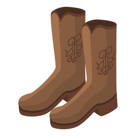 Cowboy boots icon. Isometric of cowboy boots vector icon for web design isolated on white background