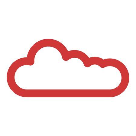 Red cloud icon, outline style Illusztráció