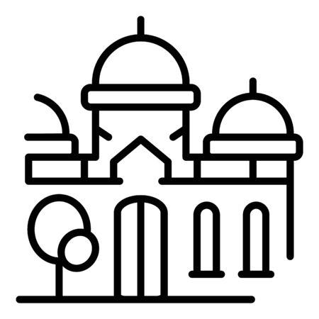 Church icon, outline style Illusztráció