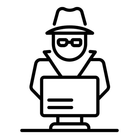 Laptop secret hacker icon, outline style