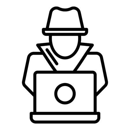 Modern secret hacker icon, outline style Stock Illustratie