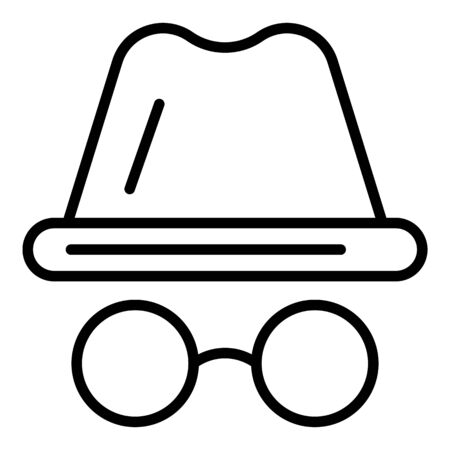 Hacker glass hat icon, outline style
