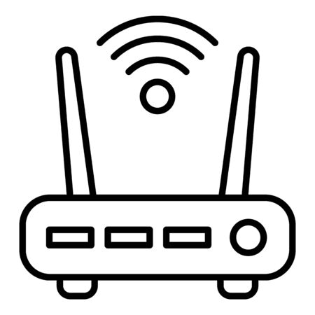 Security wifi router icon, outline style 일러스트