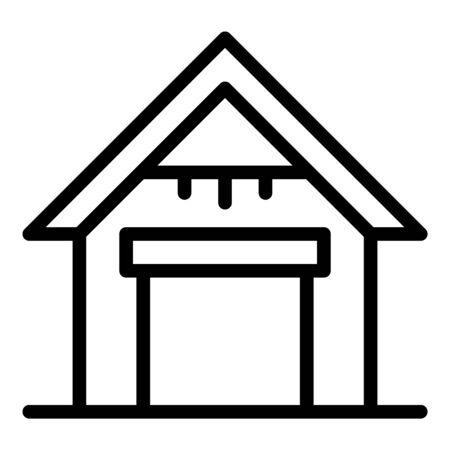 House garage icon, outline style Illusztráció