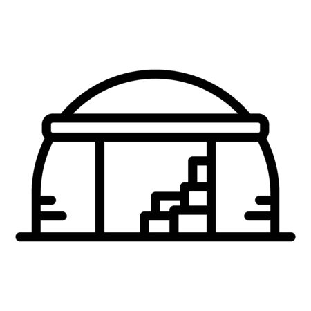 Old hangar icon, outline style