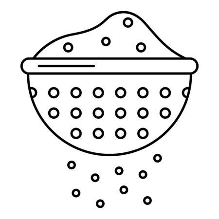 Flour sieve icon. Outline flour sieve vector icon for web design isolated on white background