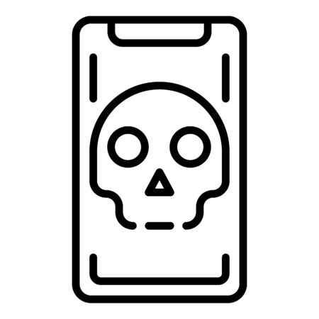 Hacked smartphone icon, outline style
