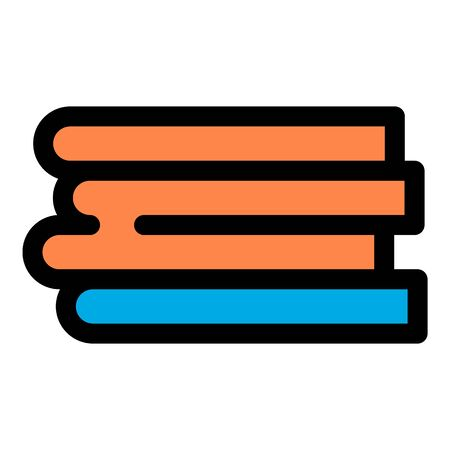Book stack icon, outline style Illustration