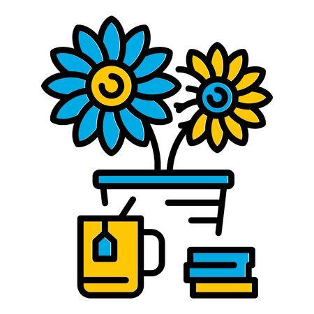 Desktop flower pot icon. Outline desktop flower pot vector icon for web design isolated on white background