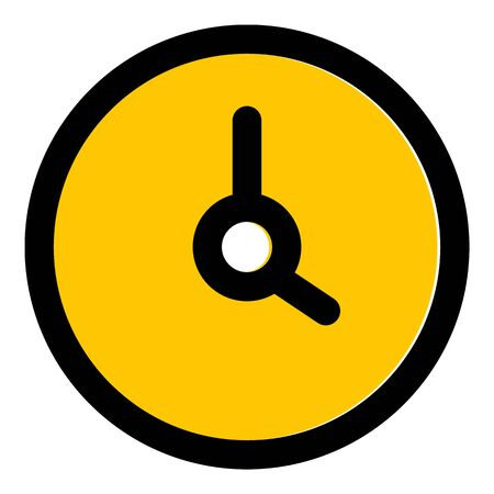 Yellow wall clock icon, outline style Ilustrace