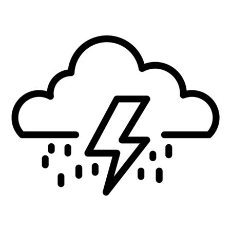 Thunderstorm cloud icon, outline style