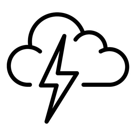 Lightning bolt cloud icon, outline style