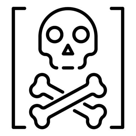 Death hacker attack icon, outline style