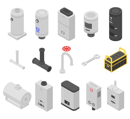 Boiler icons set, isometric style