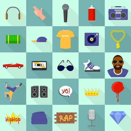 Hiphop icons set. Flat set of hiphop vector icons for web design 일러스트