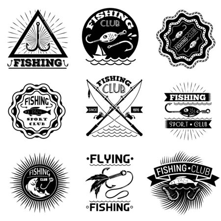 Fishing hook logo set, simple style