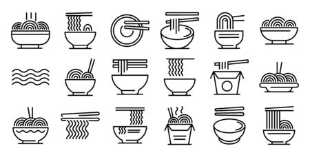 Ramen icons set, outline style