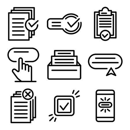 Ensemble d'icônes de demande, style de contour
