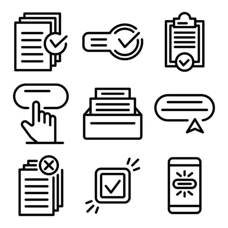 Request icons set, outline style
