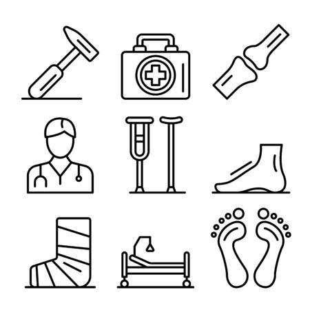 Podiatrist icons set, outline style Vettoriali