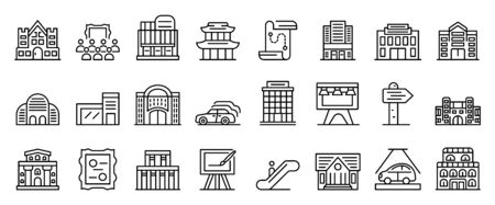 Exhibition center icons set, outline style Ilustração