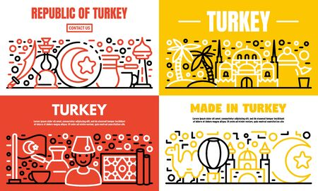 Turkey country banner set. Outline set of turkey country vector banner for web design  イラスト・ベクター素材
