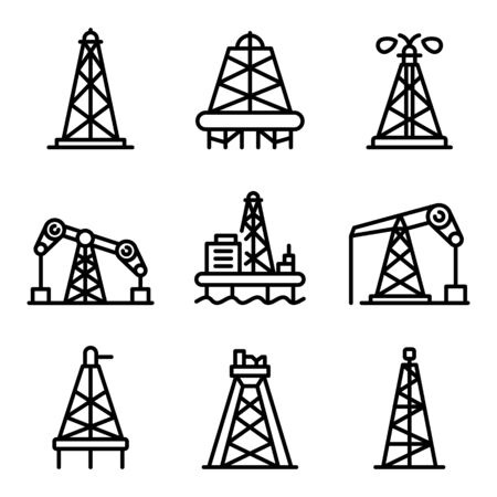Derrick oil icons set, outline style